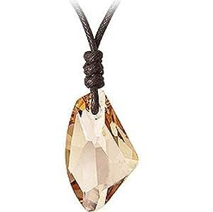 Swarovski - Sparkling Crystal - collier- Pendentif Cristal Ombre Dorée sur Corde