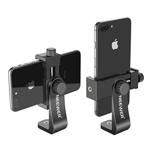 Neewer Smartphone Halter Vertikale Halterung mit 1/4-Zoll-Stativhalterung C Handy Klemme Stativadapter für iPhone Samsung und andere Handys innerhalb von 1,9-3,9 Zoll (schwarz) -