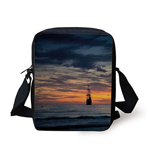 t Vessel Sailing Ship Floating on Ocean at Idyllic Sunset Maritime Decorative,Dark Blue Yellow Coral Print Kids Crossbody Messenger Bag Purse ()