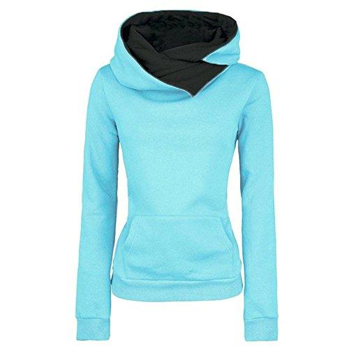 iBaste Damen Kapuzenpullover Sweatshirt Jacken Hoodie Einfarbig Kapuzenshirt Rollkragenpullover Blau