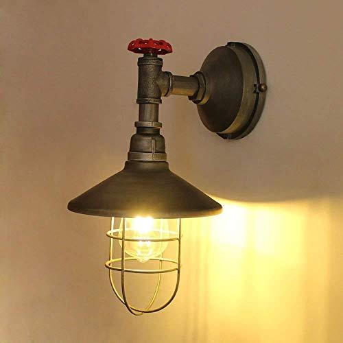 Steampunk lámpara de pared retro lámpara de tubo de agua de metal hueco industrial 1 lámpara lámpara de pared retro arte decoración de la sala E27 lámpara de dormitorio: Amazon.es: Iluminación