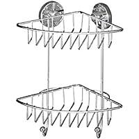 Wenko 20888100 Vacuum-Loc Eckregal Bari 2 Etagen - Befestigen ohne bohren, Stahl, 16 x 29,5 x 22,5 cm, chrom