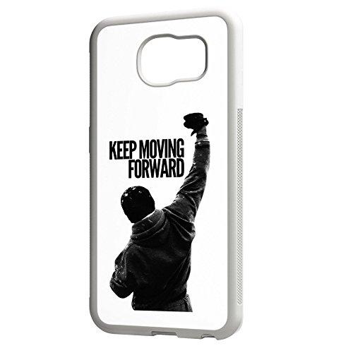 Smartcover Case Keep Moving Forward z.B. für Iphone 5 / 5S, Iphone 6 / 6S, Samsung S6 und S6 EDGE mit griffigem Gummirand und coolem Print, Smartphone Hülle:Iphone 6 / 6S weiss Samsung S6 EDGE weiss