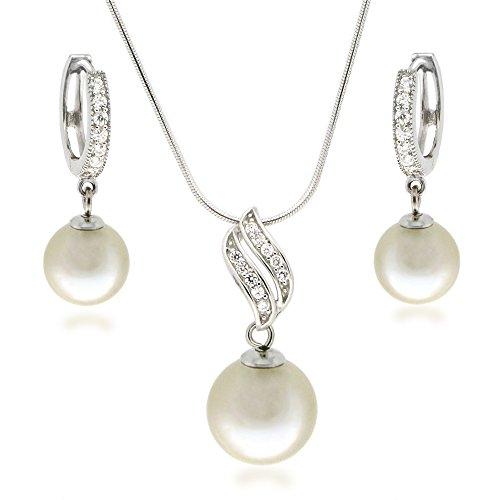 Schmuckset mit Perlen in cremeweiß, Collier und Creolen besetzt mit Zirkonia,925 Silber rhodiniert
