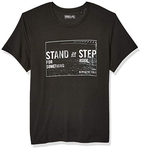 Kenneth Cole REACTION Herren Short Sleeve Graphic Tee T-Shirt, Stained Step Black, Mittel Kenneth Cole Reaction Step