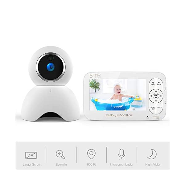 Baby Monitor, BOIFUN Baby Video Camera with 5'' 1280x720P HD Screen 2000mAh Rechargeable Battery with VOX Night Vision Temperature Monitor Two-Way Talk 355 Degree Remote Control Camera Baby/Elder/Pet BOIFUN Sleep Mode & Night Vision----In Sleep mode, The screen on the mother unit is black. Screen will light up when baby starts crying. Night vision distance is 5 meters, so you will never miss any moment of your baby, and it frees yourself from the hustle and bustle. You will be able to have your own time to read, watch TV, or even enjoy a couple of drinks with your husband. Bring you lots of fun. 2000mAh Battery----2000mAh high-capacity battery (mother unit), lasts up to 6 hours with full functions, and 20 hours in sleep mode, from testing results. Let you have longer time get rid of the shackles of the wires. Bring you longer time of fun. 300Meters Extra-Large Range----300m signal coverage area (outdoor test) allows you to cook happily downstairs, enjoy the sun in the pool, or even have a relaxing BBQ time with friends in terrace. Bring you bigger fun. 1