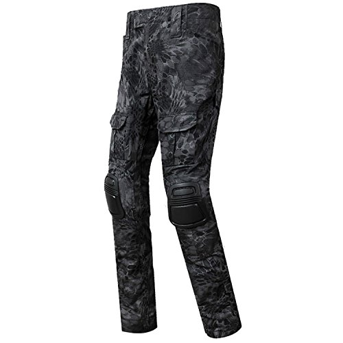 QMFIVE Army Trousers, Men's Shooting Camo Combat BDU Combat Pants Trousers with kneepadfor Tactical Military Army Airsoft Paintball