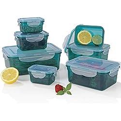 GOURMETmaxx - Set de Recipientes Herméticos para Alimentos, Esmeralda, 14 Piezas