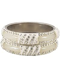DollsofIndia Pair Of Off-White Metal Bangles With Stone And Beads - Size - 2-6 - Dia - 2.4 Inches (RF01) - Ivory