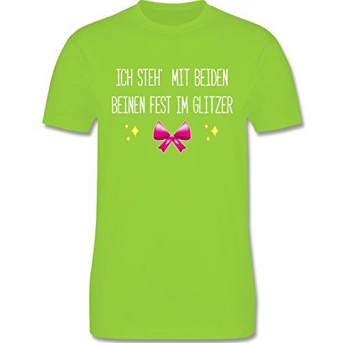 Statement Shirts - Ich steh' mit beiden Beinen fest im Glitzer - Herren Premium T-Shirt Hellgrün