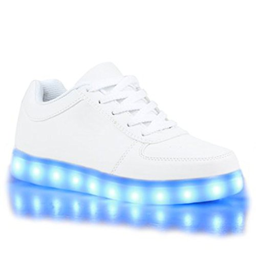 (Present:kleines Handtuch)JUNGLEST Blinkende Damen Sneakers High Led Light Fa Weiß