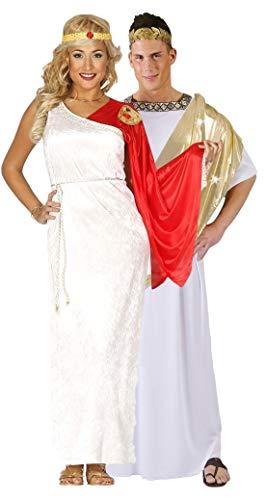 Paar Damen & Herren Antike Römische Toga Cäsar Göttin Velvet voller Länge historisch Kostüm groß - Weiß, Ladies UK 14-18 & Mens - Womens Römischen Göttin Kostüm