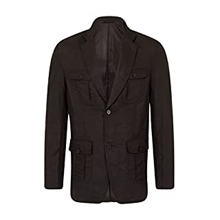 Alexanders of London Mens Light Weight Linen Safari Jacket / Blazer with Patch Flap Pockets - Black - Size 40 Short