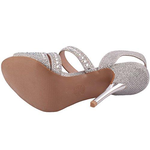 Unze Donne 'Samie' Diamante ha abbellito Strappy tacco alto a spillo partito di sera di Carnevale Get Together Brunch sandali tacco nozze Corte Formato dei pattini 3-8 Argento