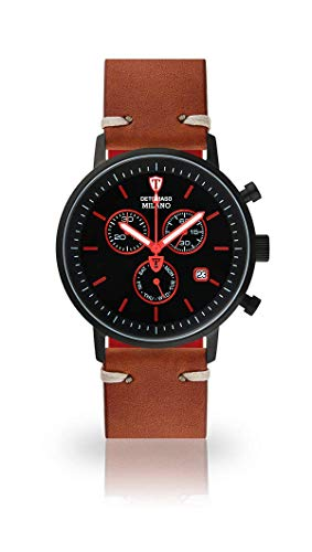 DETOMASO Milano Mens Watch Chronograph Analog Quarz Brown Vintage Leather Strap Black dial DT1052-M-786
