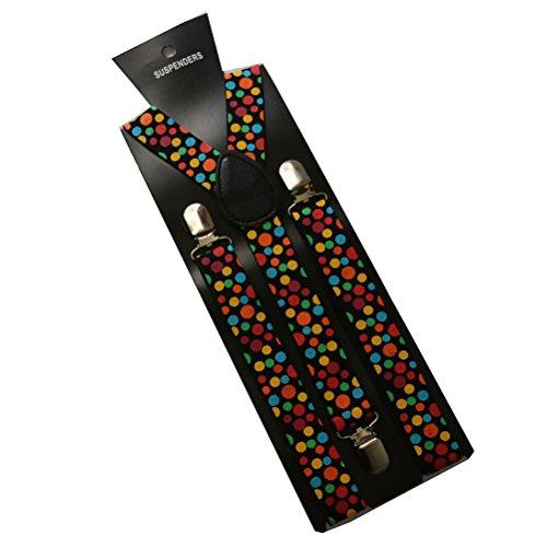 Tinksky Polka Dot Braces Hosenträger Clown Fancy Dress Kostüm für Festival Karneval Anti-Falten Non-Slip-Clip Elastische Hosenträger für Männer und (Dot Polka Clown Kostüm)