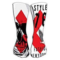 "zexuandiy Compression Socks for Women & Men Best for Running, Athletic Sports, Crossfit, Flight Travel 19.7""(50cm) skull graphic des"