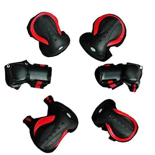 MISS&YG Kniebeschriebe, Rollschuhschutzausrüstung für Erwachsene Kinder komplett Fahrrad-Lange Skateboard-Rollschuhe,Red,M(for60~121lbs) -