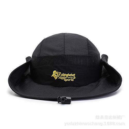 Dilunsizrf Frühling und Sommer Outdoor Paar Wandern Sonnenschutz Visier Männer und Frauen Mode Hipster Anti-UV Big Hat,Black