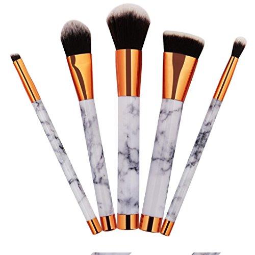 Honestyi Ensemble de 5 pinceaux de maquillage en marbre (blanc)