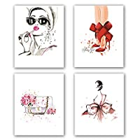 "KARTME Fashion Women Art Print Set Of 4 (8""X10""Minimalist Makeup Art, Fashion Lipstick, Red High heels, Handbag Printing for Women Gifts, Vogue Canvas Wall Art Poster For Girls Room decor, No Frame"