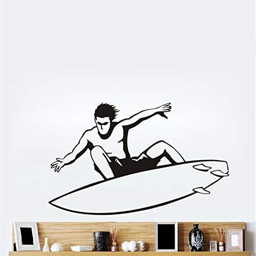 zhuziji Tapferen Surfen Mann Silhouette Wandaufkleber Steuern Dekor Wohnzimmer Abnehmbare Vinyl Sport Wandtattoos Für Jungen Room Mura Kaffee Farbe 57X92 cm