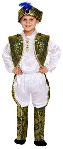 Fancy Me Kinder Jungen 5 Prinz Indian Prinz asiatisch Kostüm Kleid Outfit 4-12 Jahre - Weiß, 4-6 - Asiatische Prinz Kostüm