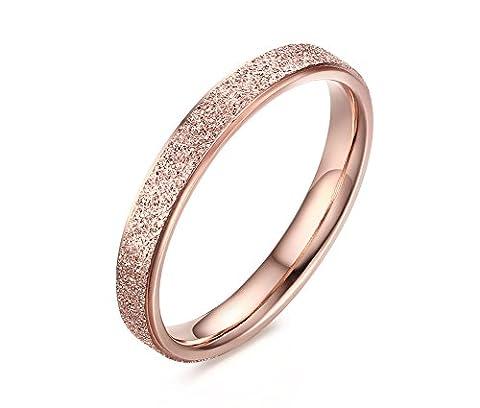 Vnox Edelstahl Mattfinish sandgestrahlt Band Ring für Frauen,die versprechen Engagement Rose (3 Anello Di Pietra Solido)