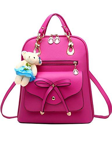 Menschwear PU Zaino Satchel Daypack sacchetto di scuola Blu Rosa 1