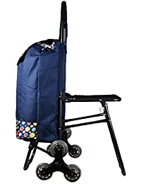 EverBest Stair Climbing Wheels, Foldable Chair, Shopping Trolley (Silky Blue Polka)