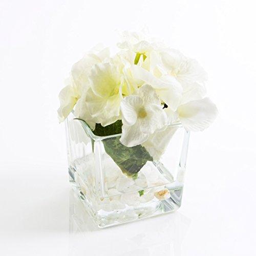 Künstliche Hortensie im Glas, creme-weiß, 15 cm, Ø 12 cm - Kunstblume / Deko Blume - artplants