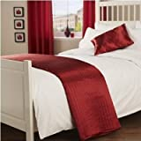 Luxury Living Collection Quilted Faux Silk Bed Runner in Red
