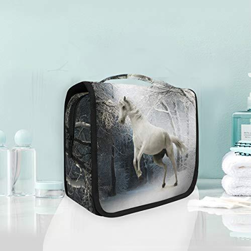 Make-up-Kosmetiktasche White Horse In Forest Portable Storage Reise-Kulturbeutel