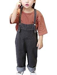 Pantalones Vaquero De Peto para Bebé Niños Niñas Largo Lindo Tirantes Pantalones Overall Mono Gris 100CM