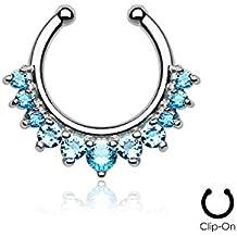 Falso Piercing septum (nariz) en acero quirúrgico y cristal azul Aquamarine–Clip