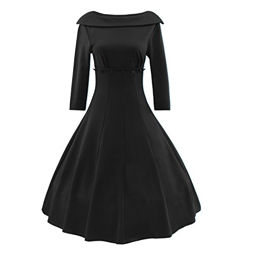 LUOUSE Women Elegant 3/4 Sleeves 50s Retro Cocktail Dress Rockabilly Party Vintage Dress (8, W704-Black)