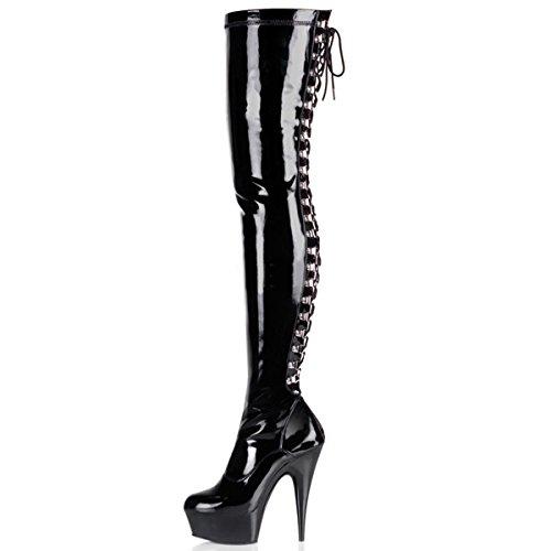 Lack High Heel Stiefel (Higher-Heels PleaserUSA Overknee-Stiefel Delight-3063 Lack schwarz Gr. 38)