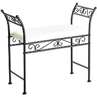 dcasa - Banqueta negro metal 74 x 30 x 63 cm asiento de lino. - Muebles de Dormitorio precios