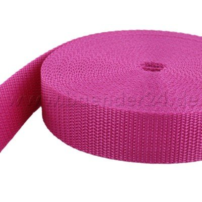 10m PP Gurtband - 25mm breit - 1,4mm stark - pink (UV)