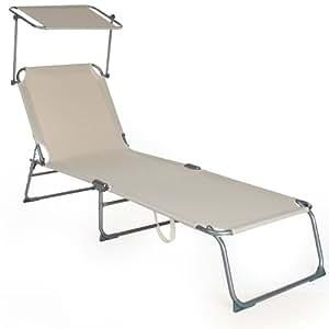 tectake chaise longue bain de soleil avec parasol pare soleil beige jardin. Black Bedroom Furniture Sets. Home Design Ideas