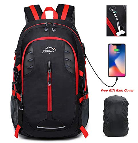 30L Ligero Mochila de Senderismo para Acampar,Viajar,Alpinismo,Trekking,15 Pulgadas Mochila para Ordenador Portátil USB,Cubierta Impermeable para Mochila,Negro