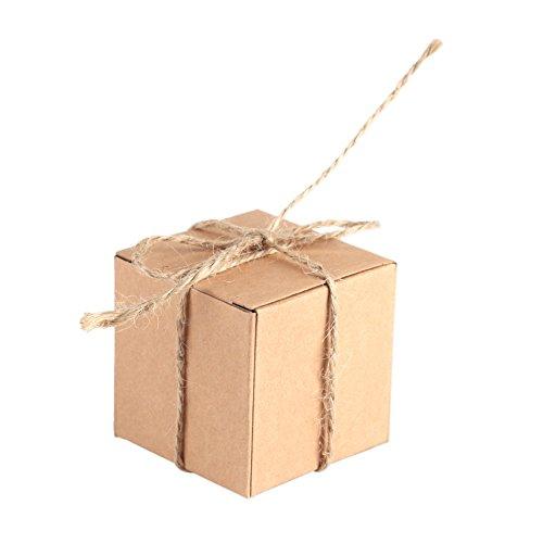 Kraftpapier Süßigkeiten-Boxen aus Kraftpapier mit Hanfseil, für Hochzeiten, Süßigkeiten-Boxen, Partys, Babypartys ()