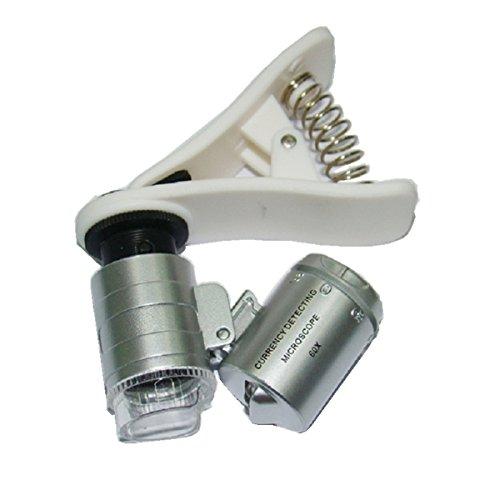 kuyia Mini-Universal-Lupe mit Clip, 60-fache Vergrößerung, mit LED-Licht, anklippbar auf Handy, Mikroskop mit UV-Licht, Juwelier-Lupe, für UV-Geldscheinprüfung