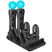 PS VR Controller Charger - Keten Ladestation für PlayStation 4 Controller und PS VR Move Motion Controller[Altes Modell] mit LED-Ladeanzeige