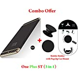 Like It Grab It Oneplus 5T / One Plus 5T Full Protection 360º Double Dip Super Slim Premium Shockproof 3 In1 Full Body Protection IPaky Back Cover Case For Oneplus 5T - ( Black - Gold ) + PopSockets | Pop Grip Socket & Pop Mount Designer Phone St