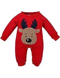 QUICKLYLY Navidad Peleles Pijamas Conjunto Bebé Niño Niña Recién Infantil Elk ...