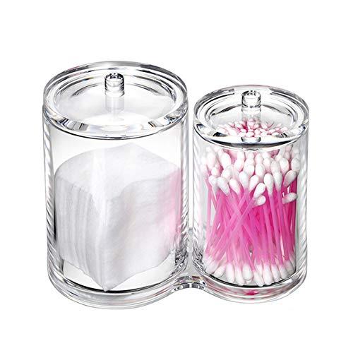 Doitsa 1Pcs Boîte de Rangement Maquillage en Acrylique Transparent Cristal pour Coton-Tige/Pinceau de Maquillage, 2 Trous, avec Couvercle, 14 * 13.5CM (Style-1)
