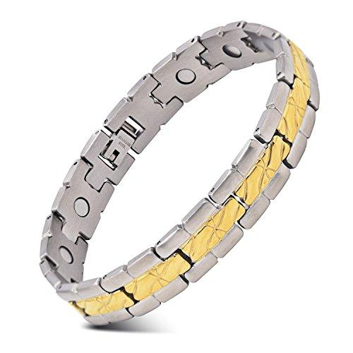 Herren Edelstahl Armband Gold und Sliber Armreif Zwei Tone Magnetische Therapie Armband 22CM und ein Free Link Remover Tool von JFUME