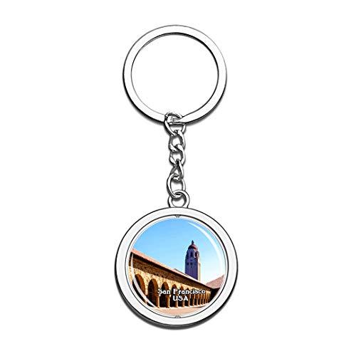 USA Vereinigte Staaten Schlüsselbund Stanford University San Francisco Schlüsselbund 3D Kristall Drehen Rostfreier Stahl Schlüsselbund Touristische Stadt Andenken Schlüsselanhänger