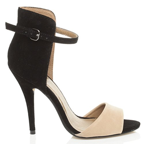 Tacco alto delle donne sandali caviglia polso cinturino contrasto bicolore Scamosciato nudo / Scamosciato nero